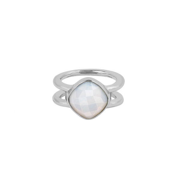 Cushion Stone Ring - Crystal/Rhodium Plated