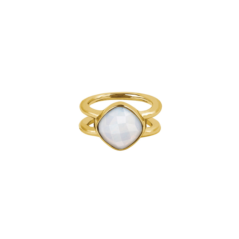 Cushion Stone Ring - Crystal/Gold Plated
