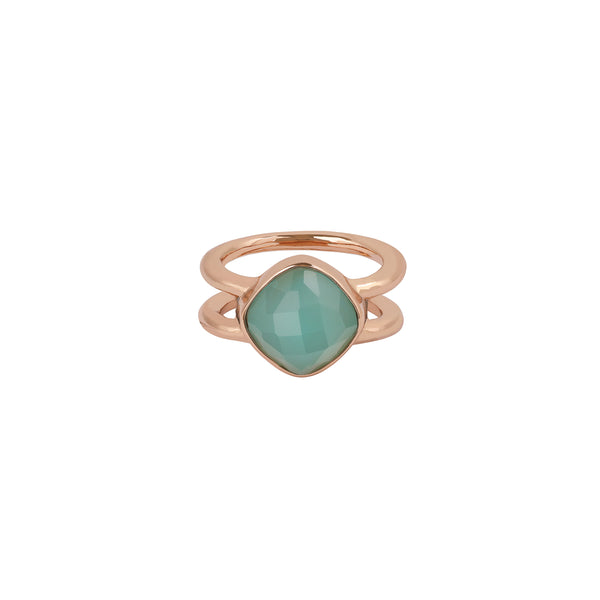 Cushion Stone Ring - Crystal/Rose Gold Plated