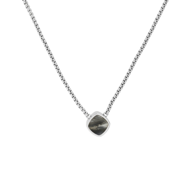 Resin Soft Square Necklace - Crystal/Rhodium Plated