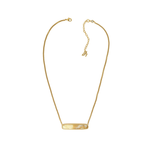Resin Soft Bar Necklace - Crystal/Gold Plated