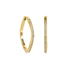 Soft Square Hoop - Crystal/Gold Plated
