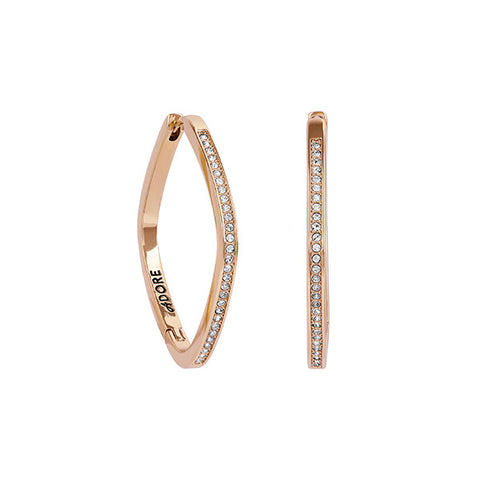 Soft Square Hoop - Crystal/Rose Gold Plated