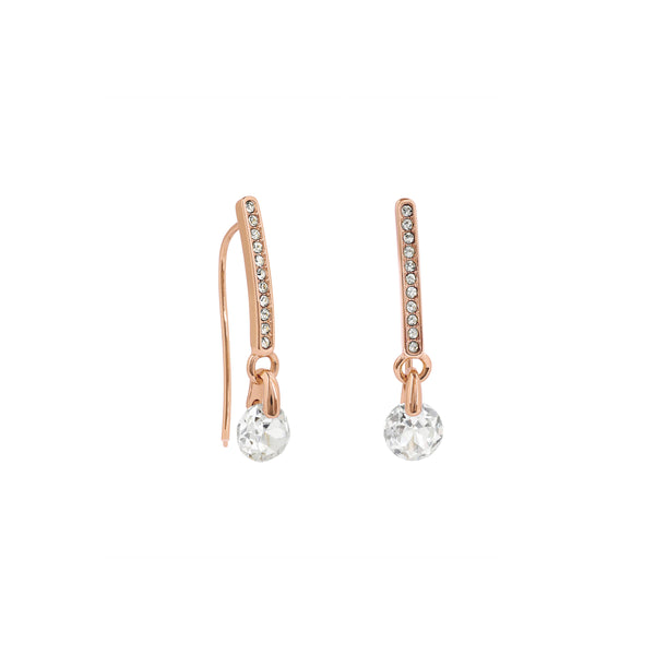 Linear Pavé & CZ French Wire Earrings - Crystal/Rose Gold Plated