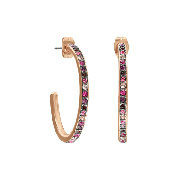Organic Circle Classic Hoop Earrings- Crystal/Rose Gold Plated