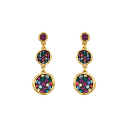 Organic Circle Drop Earrings- Crystal/Gold Plated