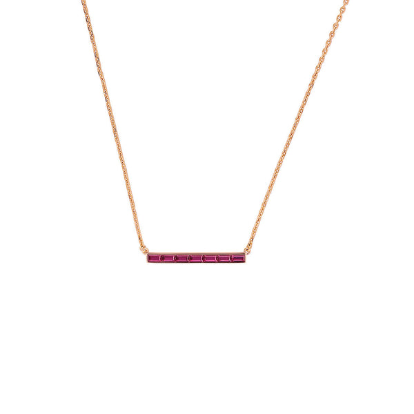 Baguette Bar Necklace - Crystal/Rose Gold Plated