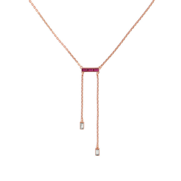 Baguette Bar Y-Necklace - Crystal/Rose Gold Plated