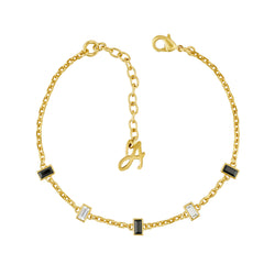 Baguette Bar Station Bracelet - Crystal/Gold Plated