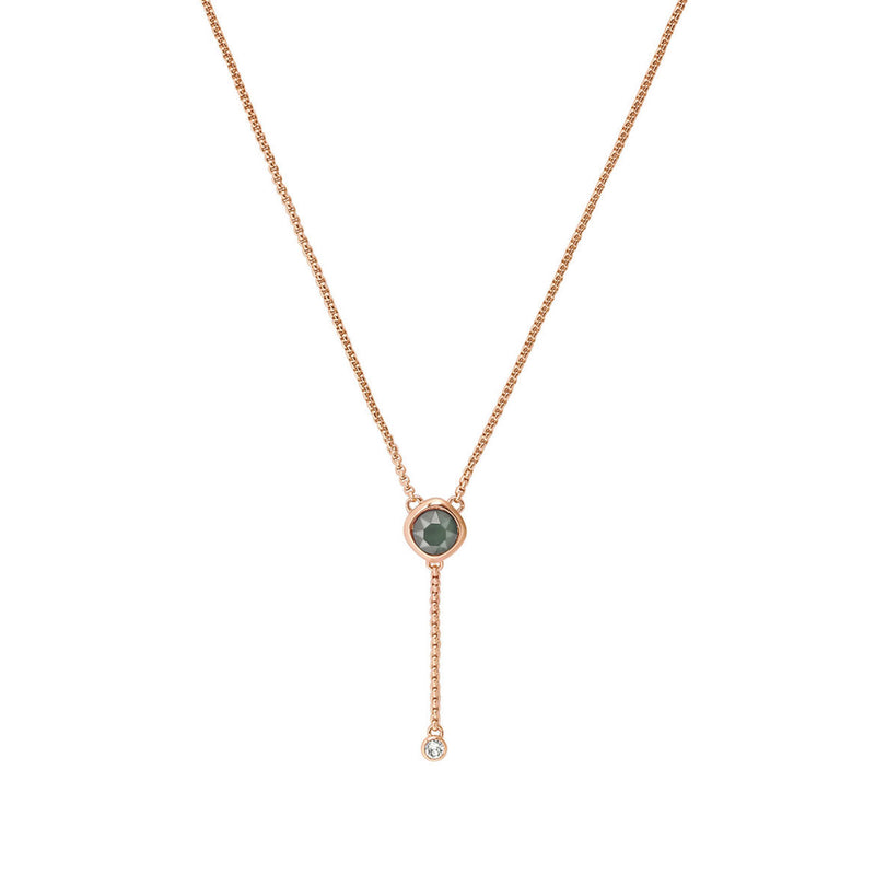 Soft Square Stone Y Necklace - Crystal/Rose Gold Plated
