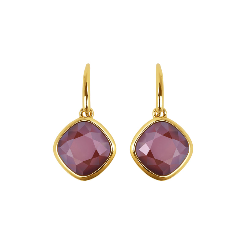 Soft Square Stone French Wire Earrings - Crystal/Gold Plated