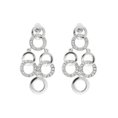Interlocking Ring Chandelier Earring - Crystal/Rhodium Plated