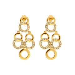 Interlocking Ring Chandelier Earring- Crystal/Gold Plated