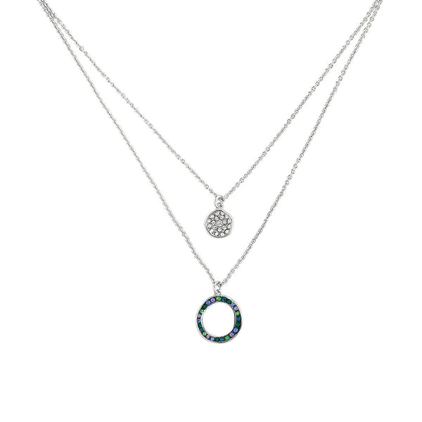 Organic Circle 2 Row Necklace - Crystal/Rhodium Plated