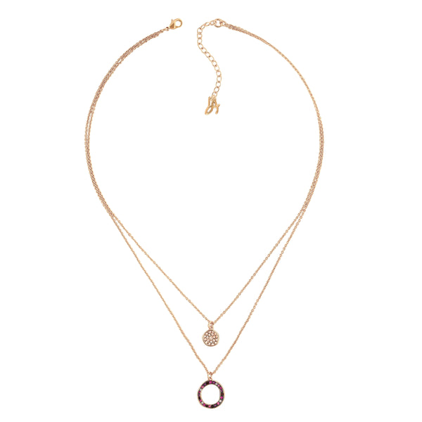 Organic Circle 2 Row Necklace - Crystal/Rose Gold Plated