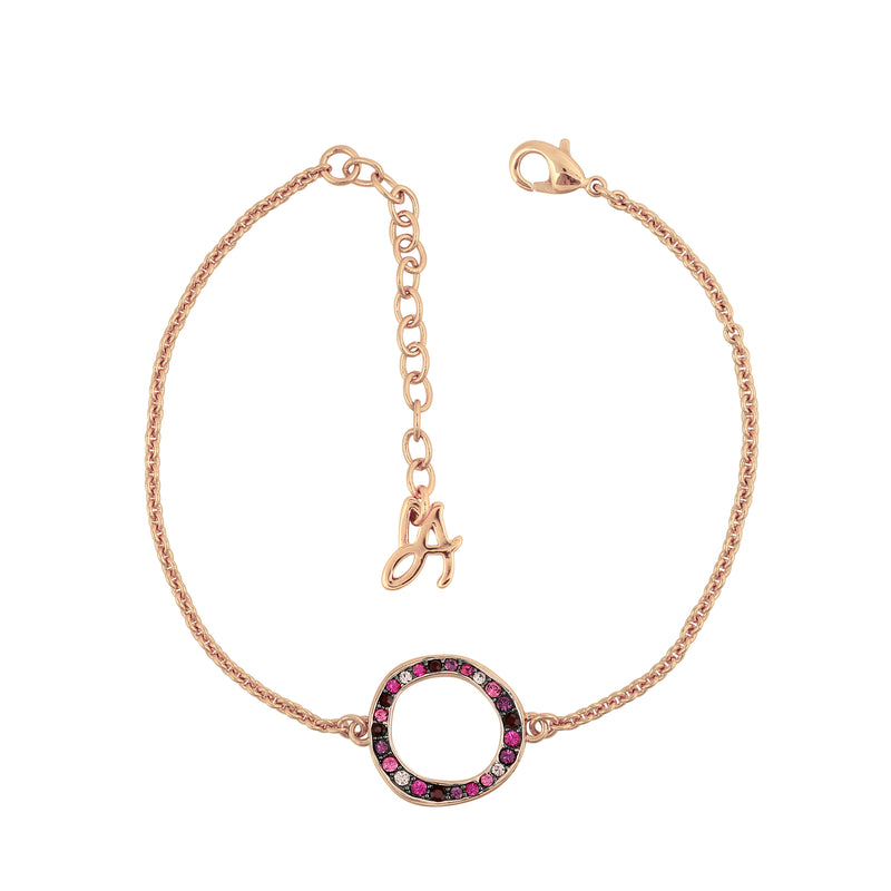 Organic Circle Bracelet - Crystal/Rose Gold Plated