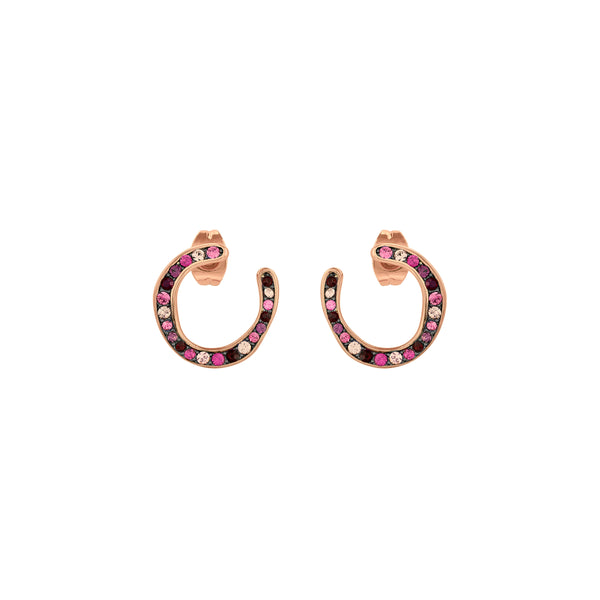 Organic Circle Hoop Earrings - Crystal/Rose Gold Plated