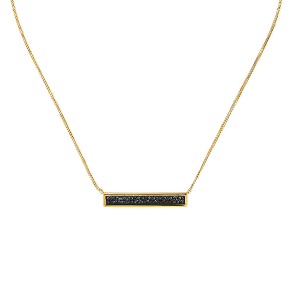 Ultra Fine Rock Bar Necklace - Crystal/Gold Plated