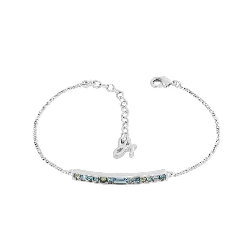 Baguette & Round Bar Bracelet- Crystal/Rhodium Plated