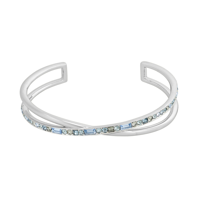 Baguette & Round Cuff Bracelet- Crystal/Rhodium Plated