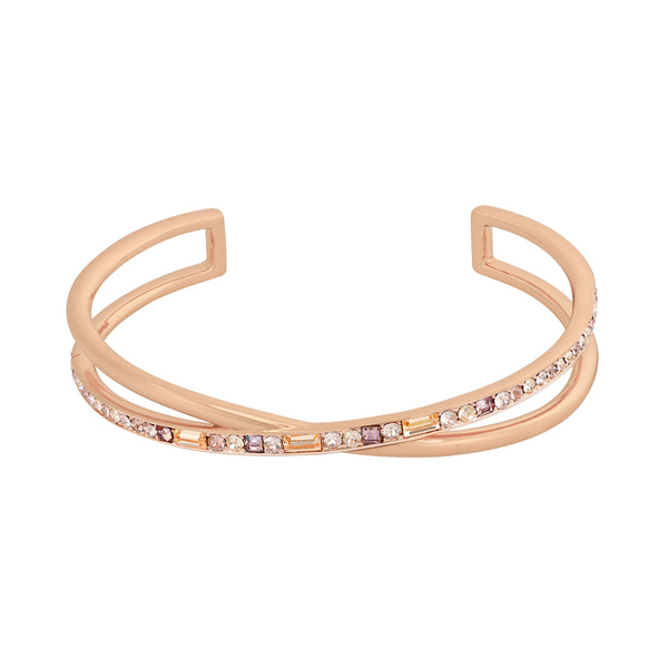 Baguette & Round Cuff Bracelet - Crystal/Rose Gold Plated