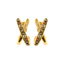 Baguette & Round Crossing Earrings - Crystal/Gold Plated