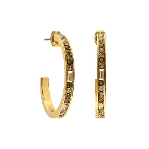 Baguette & Round Hoop Earring - Crystal/Gold Plated