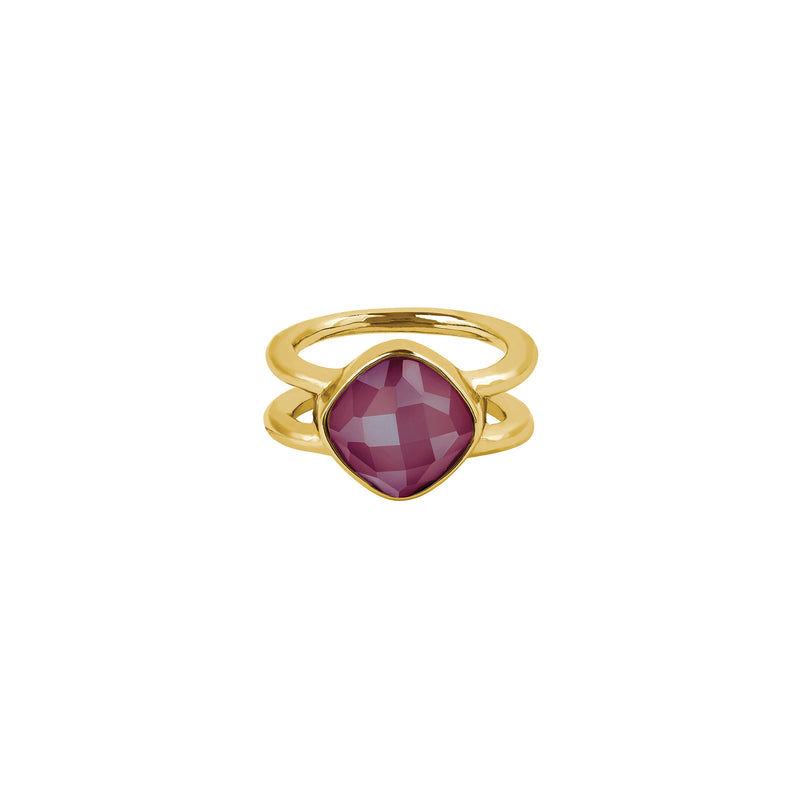 Soft Square Stone Cushion Ring - Crystal/Gold Plated