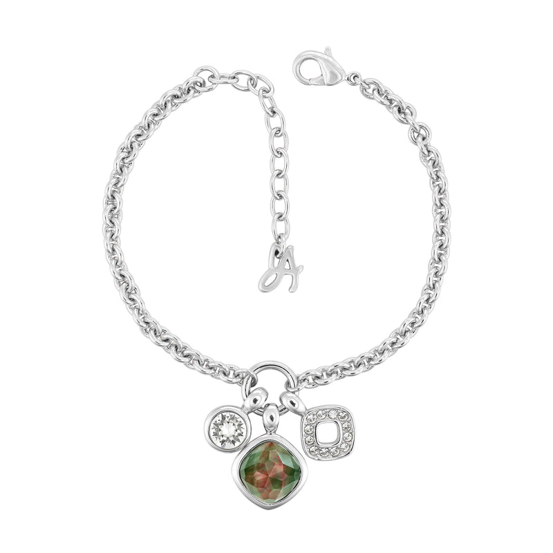 MOP Doublet Charm Bracelet - Crystal/Rhodium Plated