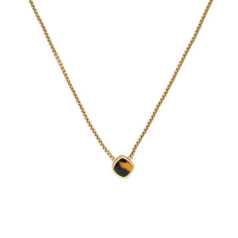Resin Soft Square Necklace - Crystal/Gold Plated
