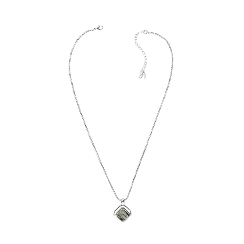 Resin Soft Square Spinner Necklace - Crystal/Rhodium Plated
