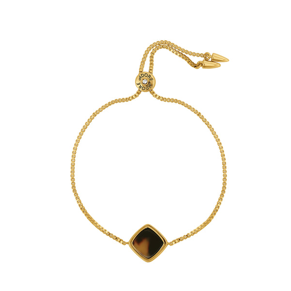 Resin Soft Square Slide Bracelet - Crystal/Gold Plated
