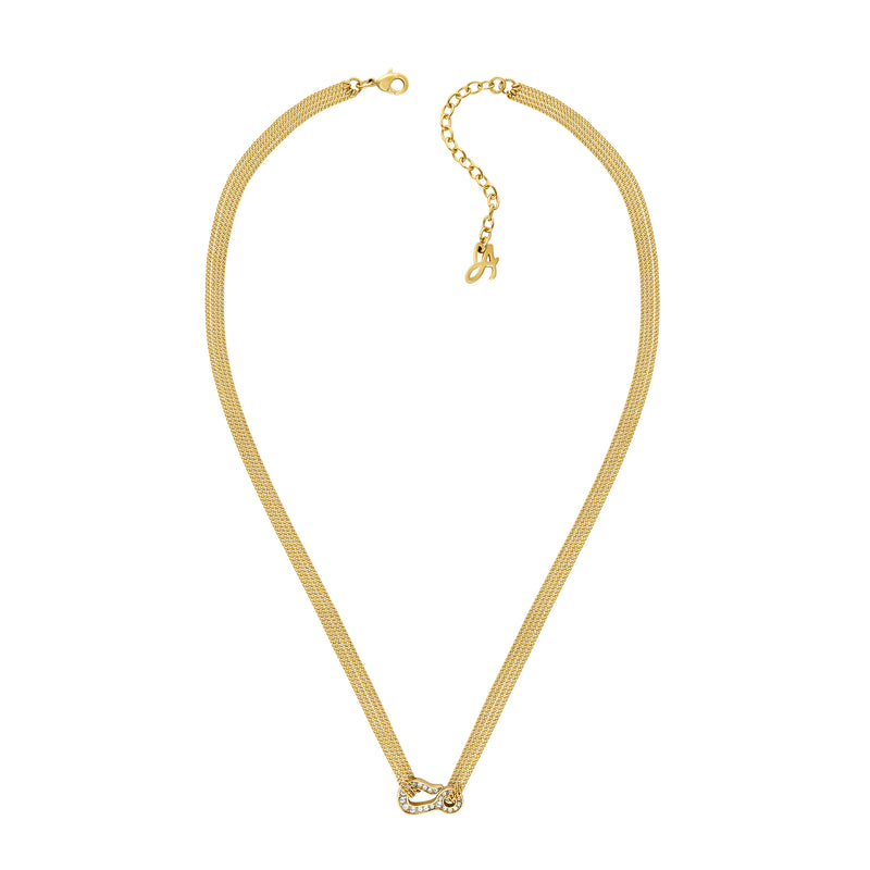 Pavé Hook Necklace - Crystal/Gold Plated