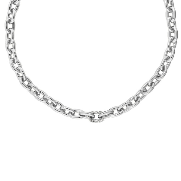 Lozenge Chain & Pavé Necklace - Crystal/Rhodium Plated