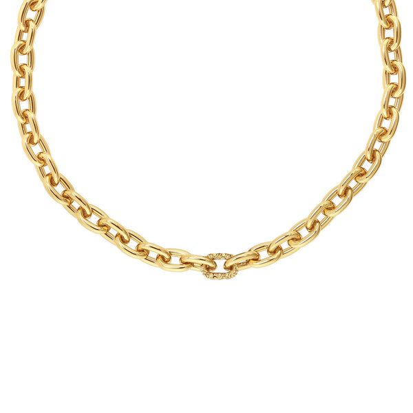 Lozenge Chain & Pavé Necklace - Crystal/Gold Plated
