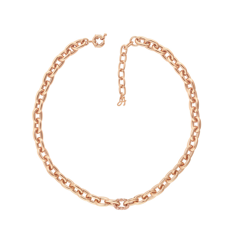 Lozenge Chain & Pavé Necklace - Crystal/Rose Gold Plated