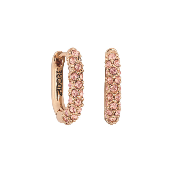 Lozenge Pavé Earrings - Crystal/Rose Gold Plated