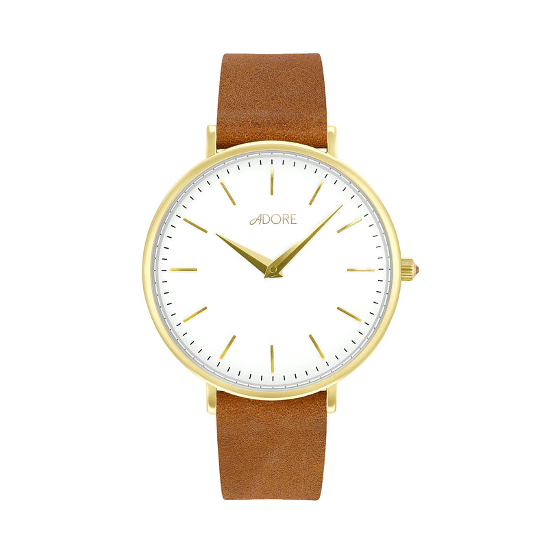 Signature 33mm Light Brown Leather Watch - Gold Plated / Swarovski® Crystal