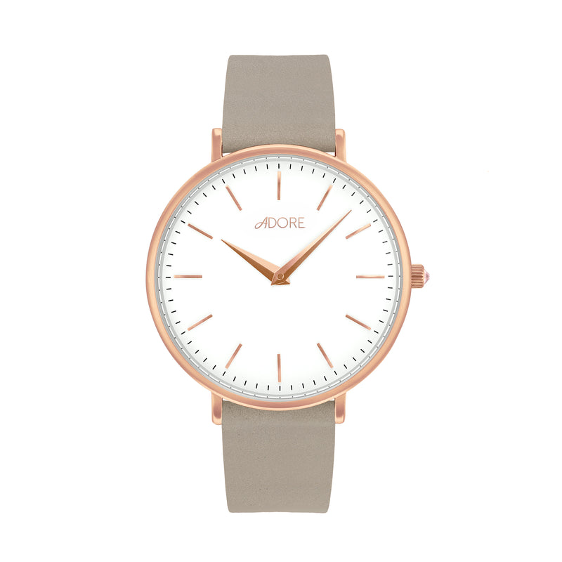 Signature 33mm Grey Leather Watch - Rose Gold Plated / Swarovski® Crystal