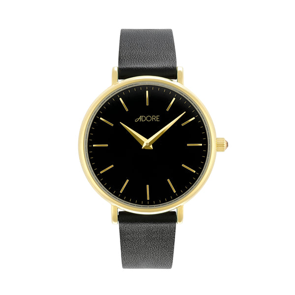 Signature 33mm Black Leather Watch - Gold Plated / Swarovski® Crystal