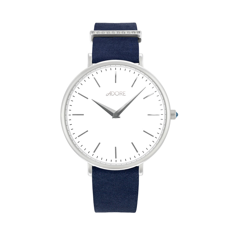 Elegance 33mm Navy Leather Watch - Rhodium Plated / Swarovski® Crystal