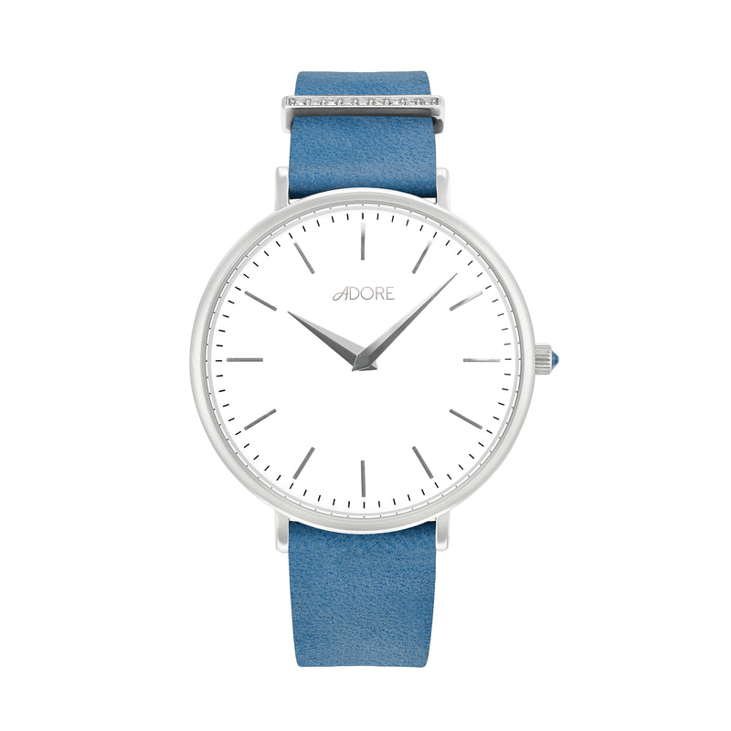 Elegance 33mm Light Blue Leather Watch - Rhodium Plated / Swarovski® Crystal