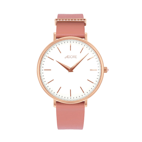 Elegance 33mm Pink Leather Watch - Rose Gold Plated / Swarovski® Crystal
