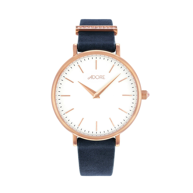 Elegance 33mm Navy Leather Watch