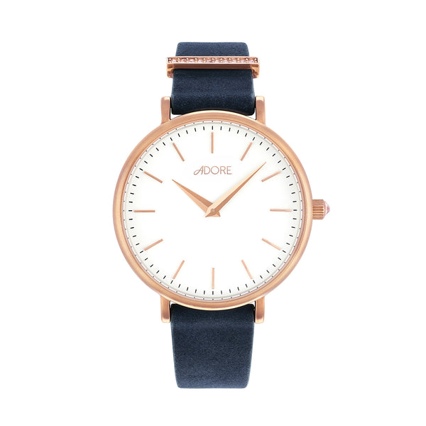 Elegance 33mm Navy Leather Watch - Rose Gold Plated / Swarovski® Crystal
