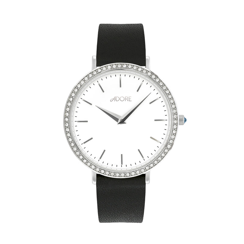 Brilliance 33mm Black Leather Watch - Rhodium Plated / Swarovski® Crystal