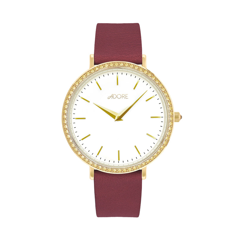 Brilliance 33mm Red Leather Watch - Gold Plated / Swarovski® Crystal