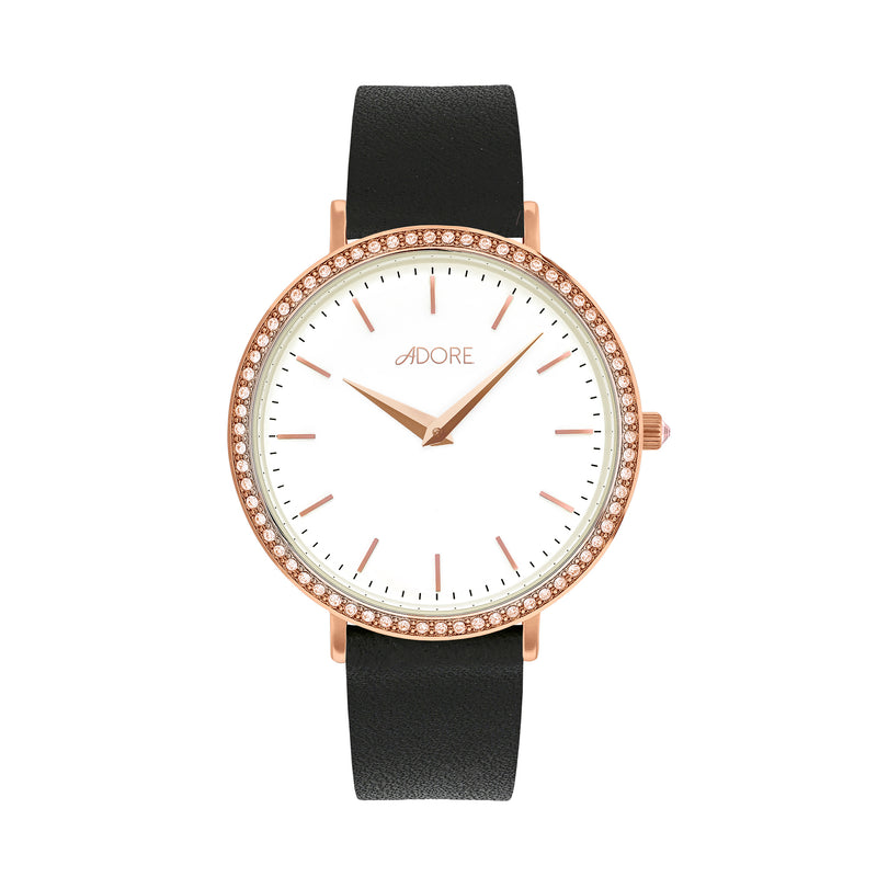 Brilliance 33mm Black Leather Watch - Rose Gold Plated / Swarovski® Crystal