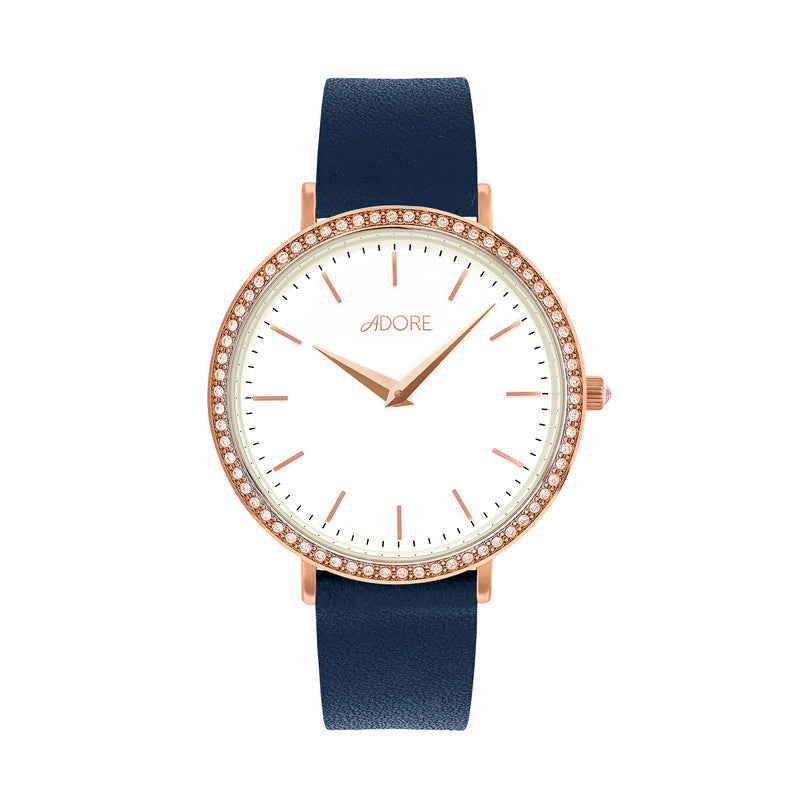 Brilliance 33mm Navy Leather Watch - Rose Gold Plated / Swarovski® Crystal