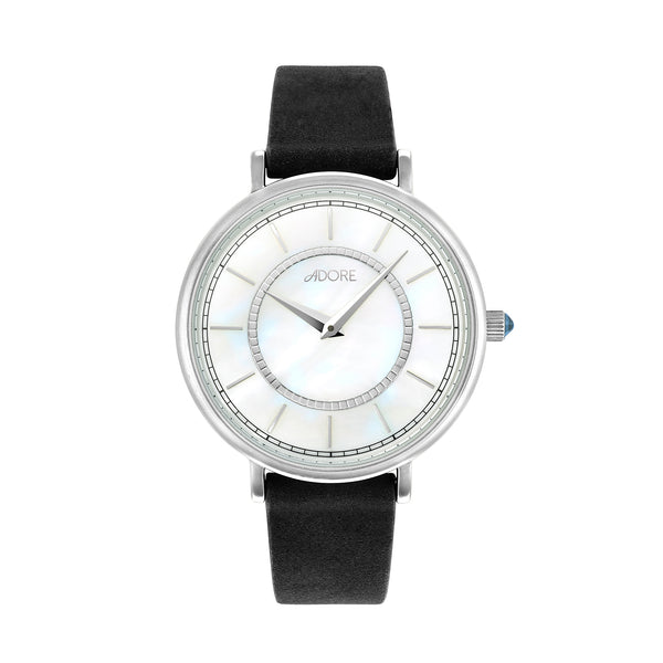 Naturale 33mm Black Leather Watch - Rhodium Plated / Swarovski® Crystal